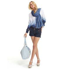 Bluse, mit Farbverlauf in weiß/blau von CANNERY ROW VINTAGE bei IMPRESSIONEN