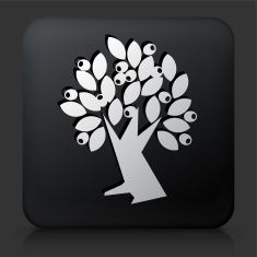 Black Square Button with Olive Tree vector art illustration