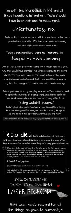 Why Nikola Tesla was the greatest geek who ever lived - The Oatmeal - via http://bit.ly/epinner Science And Technology, Science News, Science Quotes, Tesla Power, Tesla S, Tesla Coil, Nikola Tesla, Mahatma Gandhi, Friedrich Nietzsche