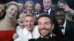 Ellen's 2014 Oscars selfie that shut twitter down.   Jared Leto's eye, Jennifer Lawrence, Channing Tatum, Julia Roberts, Kevin Spacey, Brad Pitt, Lupita Nyongo, Angelina Jolie's eyes and hand.  On the bottom; Mery Streep, Ellen, Bradley Cooper & Lupita's brother.  Quite the Ensemble cast.