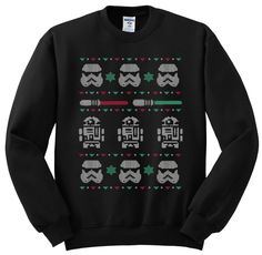 Star Wars Christmas Sweater great gift, parties, white elephant by TheGoldenLabel on Etsy https://www.etsy.com/listing/255083496/star-wars-christmas-sweater-great-gift