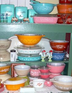 pyrex collection. Love the pink ones, especially!