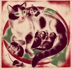 """Illustration by Elisabeth Ivanovsky (1910-2006), from the book """"Grands et Petits (Large and Small)"""", 1934"""