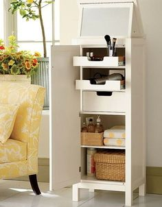 Compact makeup table storage