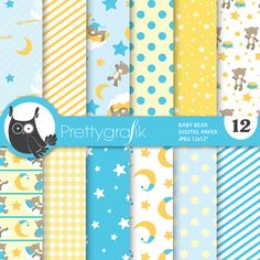 Baby boy bears digital papers Baby bear boy digital papers: Have fun creating with these beautiful baby bear papers! Wonderful papers including a baby on the moon, bear sleeping on a cloud, star and more! These illustrations are just what you needed for the perfect event & invitation creations.