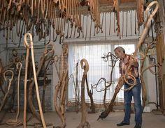 Dalmacio Fernández atesora en Saldaña (Palencia) la mayor colección de cachavas del mundo, 1.872 cachas de madera -cayado o bastón- labradas a mano por él mismo, una cifra que ahora certifica el Récord Guinness para premiar una afición a la que ha dedicado los últimos quince años. EFE/A. Alvarez