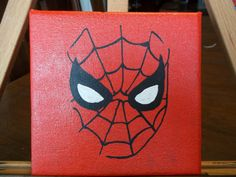 Spiderman 6x6 Acrylic Painting on Etsy, $10.50