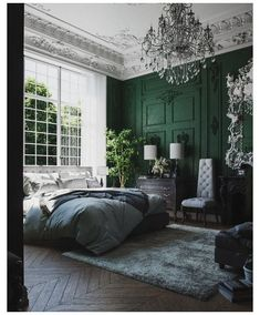 51 Green Bedrooms With Tips And Accessories To Help You Design Yours – Moldings and details – einrichtungsideen wohnzimmer Emerald Green Bedrooms, Sage Green Bedroom, Green Bedroom Decor, Bedroom Ideas, Burgundy Bedroom, Grey Green Bedrooms, Emerald Bedroom, Green Bedroom Walls, Green Master Bedroom