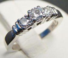 14K WHITE GOLD THREE STONE DIAMOND RING ROUND 1/2 cttw PAST PRESENT FUTURE BAND