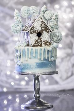 Blue Gingerbread Birdhouse Drip Cake - Cake by With Love & Confection
