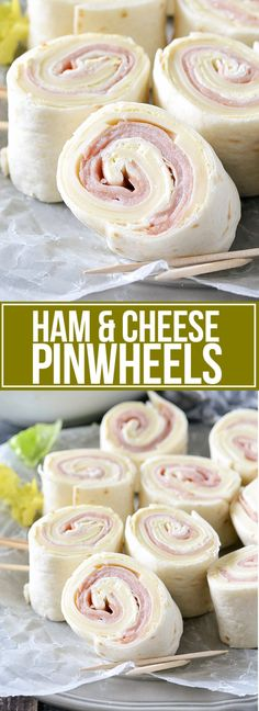 An easy and delicious recipe for Ham and Cheese Pinwheels! These tasty pinwheels make the perfect make-ahead lunch, snack or appetizer! Recipe For Ham And Cheese Pinwheels, Ham Pinwheels, Tortilla Pinwheels, Pinwheel Sandwich Recipes, Pinwheel Sandwiches, Picnic Sandwiches, Appetizer Sandwiches, Meat Appetizers, Appetizers For Party