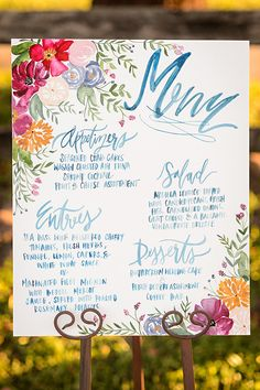 Shannon Kirsten Illustration - Hand lettered menu // Watercolor Wedding Decorations - 2015 Wedding Trends and Ideas 2015 Wedding Trends, Wedding 2015, Mod Wedding, Wedding Signs, Wedding Themes, Dream Wedding, Wedding Ideas, Wedding Reception, Wedding Cakes