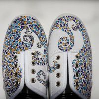 Hand painted mosaic canvas shoes