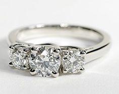 Three Stone Trellis Diamond Ring in Platinum #BlueNile  My beautiful ring!