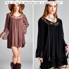 BOHO LACE TUNIC DRESS - HERE BY FEB 5 ROMANCE. BEAUTY. MYSTERY. FUN. This lovely tunic or dress covers all of those and more. Gorgeous lace panels and dramatic bell sleeves. Front neck tie, in Latte or Black. Polyester/spandex/rayon blend. Measurements upon request.  PLEASE DO NOT BUY THIS LISTING, I will personalize one for you. tla2 Dresses Mini