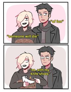 a concept: yurio being edgy af and calling his skates 'knife shoes'