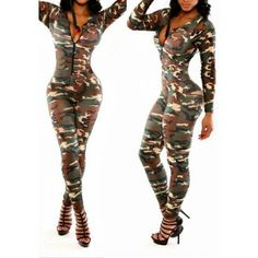 Sexy Lady Camo Bodycon Jumpsuit Romper Pants Catsuit Outfit V-Neck Clubwear Camouflage Jumpsuit, Camo Dress, Catsuit, Bodycon Jumpsuit, Red Jumpsuit, Ladies Jumpsuit, Elegant Jumpsuit, Casual Jumpsuit, Rompers Women