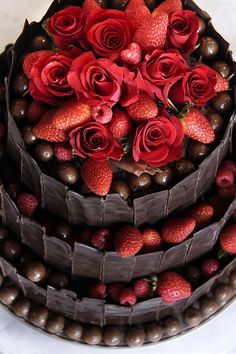 Red. Chocolate. Strawberries. Cake