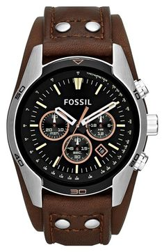 Fossil 'Sport' Chronograph Leather Cuff Watch, 44mm available at #Nordstrom
