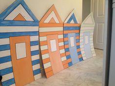 Homemade cardboard beach huts 2