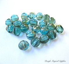 Aqua Blue Green Beads, 8mm Beads, Fluted Round Beads, Czech Glass Beads, Iridescent Glass, DIY Jewelry Making Supplies  23 Pieces SP773 by RoughMagicalSupplies on Etsy