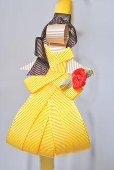 tiara da Bella - A Bela e a Fera esculturas feitas com fitas de gorgorão à mão.  **ARCO DE TAMANHO ÚNICO - 39CM DE PONTA A PONTA