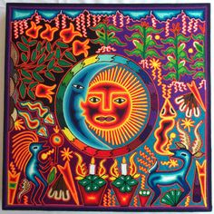Mexican Huichol Tree of wind with Sun and Moon by Aramara I Shop, My Etsy Shop, Yarn Painting, Mexican, Faces, Neon Signs, Unique Jewelry, Handmade Gifts, Vintage