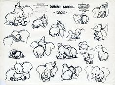 Model sheet for Dumbo from Disney's Dumbo