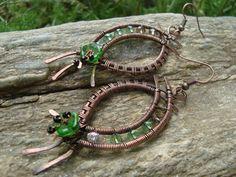 Copper Earrings with czech glass flower