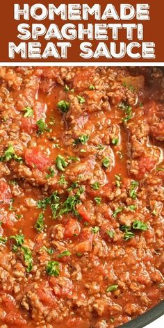 Ditch the canned spaghetti sauce for this flavorful, beefy, homemade spaghetti meat sauce. Takes a few minutes to prepare and let it simmer on the stove. Homemade Spaghetti Meat Sauce, Canned Spaghetti Sauce, Homemade Meat Sauce, Meat Sauce Recipes, Spaghetti Recipes, Pasta Recipes, Pioneer Woman Spaghetti Sauce, Lasagna Meat Sauce, Best Spaghetti Recipe