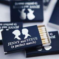 Custom Navy Blue Match Boxes // photo by: Jenna Walker Photography // Location: Denver Country Club