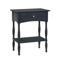 Accent any room with this elegant black end table. Simple yet functional, this end table is made from solid hardwood and features one drawer and a lower shelf.