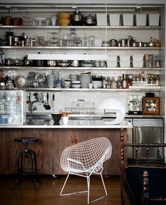 "gravity-gravity: ""Industrial kitchen in New York loft "" Kitchen Ikea, Kitchen Shelves, Kitchen Decor, Open Shelves, Open Kitchen, Kitchen Storage, Loft Kitchen, Kitchen Organisation, Kitchen Cabinets"