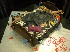 Naughty! 40th Birthday Animal Print Cake
