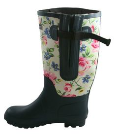 Jileon Extra Wide Calf Rubber Blue Floral Rain Boots for Winter Leather Jackets, Wide Shoes, Boating Outfit, Wide Calf Boots, Shoes With Jeans, Rubber Rain Boots, Calves, Black Leather, Footwear