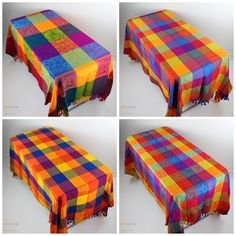 These colorful handwoven Mexican tablcloths will add a perfect punch of color to your table decor and kitchen. They would also be great to help decorate or set your table at your next Mexican fiesta or wedding! These beautiful multicolored patterns with decorative fringe are stunning! Picnic Blanket, Outdoor Blanket, Mexican Home Decor, Kitchen Makeovers, Table Linens, Home Decor Items, Punch, Hand Weaving
