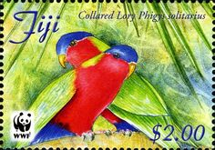 Stamps showing Collared Lory Phigys solitarius, with distribution map showing range Vanuatu, Commonwealth, African Great Lakes, Fiji Culture, Birthday Numbers, Stamp Collecting, Bird Feathers, Postage Stamps, Collars