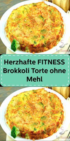 Herzhafte FITNESS Brokkoli-Torte ohne Mehl Fitness, Salmon Burgers, Cheddar, Parmesan, Quiche, Food And Drink, Breakfast, Ethnic Recipes, Food
