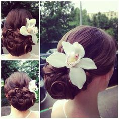 elegant and romantic updo with great clip in brown hair extensions
