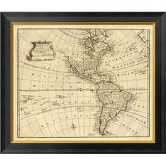 Global Gallery America, 1747 by Emanuel Bowen Framed Graphic Art on Canvas Size: