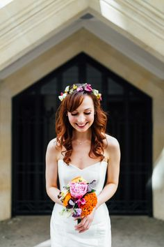 Colourful bohemian flower crown and small bouquet with a classic strapless wedding dress. Perfect inspiration for a Spring/Summer wedding.   Styling by Nulyweds, Photo by Beatrici Photography, Venue - The Anthologist Bar, Dress by Sassi Holford, Flowers by Okishima and Simmonds, Makeup by Debbie Purkiss, Hair by Tori Harris Pro Team