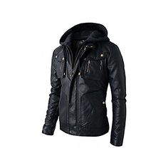 Superior Leather Garments Mens Slim Fit Hooded Biker Leather Jacket ($110) ❤ liked on Polyvore featuring men's fashion, men's clothing, men's outerwear, men's jackets, mens leather jackets, mens real leather jackets, mens slim leather jacket, mens jackets and mens biker style jacket