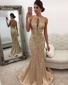 Prom Dress For Teens, Mermaid Halter Sweep Train Criss-Cross Straps Keyhole Champagne Satin Prom Dress with Beading, cheap prom dresses, beautiful dresses for prom. Best prom gowns online to make you the spotlight for special occasions. Gold Prom Dresses, Prom Dresses For Teens, Backless Prom Dresses, Mermaid Prom Dresses, Cheap Prom Dresses, Satin Dresses, Homecoming Dresses, Sexy Dresses, Formal Dresses