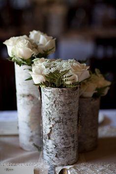 Birch vase with white roses