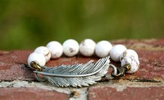 Beautiful Stone and Feather Bracelet.