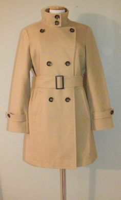 Gorgeous Tan Lined 3/4 Length Doublebreasted Trench Coat by Talbots Size 12 #Talbots #Trench