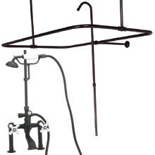 Clawfoot Tub Shower Enclosure Set Side Mount Wall Mount Faucet