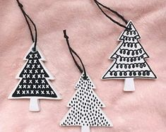 Excited to share this item from my shop: Modern Black & White Tree Ornament Set - Hand Painted Bisque Ceramic Christmas Trees - Minimalist Ornaments Ceramic Christmas Trees, Diy Christmas Ornaments, Homemade Christmas, Christmas Tree Decorations, Holiday Crafts, Christmas Mantles, Vintage Ornaments, Vintage Santas, Merry Little Christmas