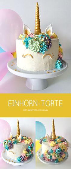 EINHORN-TORTE mit Smarties-Füllung