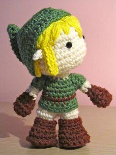 Crochet Link, from The Legend of Zelda. Made by me! Pattern found here: http://tanoshimou.wordpress.com/2010/05/27/link-legend-of-zelda-amigurumi-free-pattern/